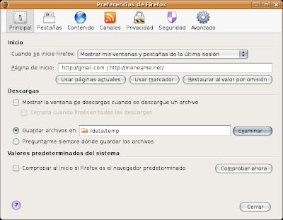 Preferencias de Firefox