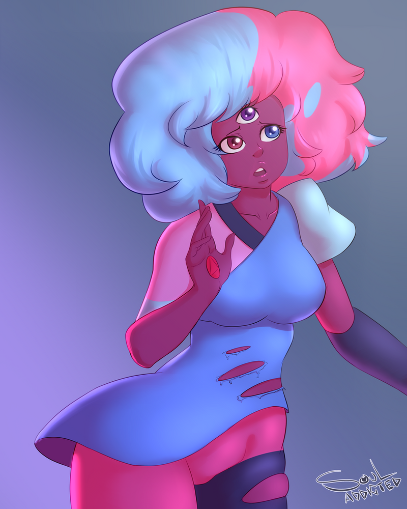 "A little something i did Cuz Steven Bomb 4  OMG ""The Answer"" was such a beautiful and amazing episode that i couldn't resist drawing that messy haired cute Garnet. souladdicted-art.tumblr.com/"