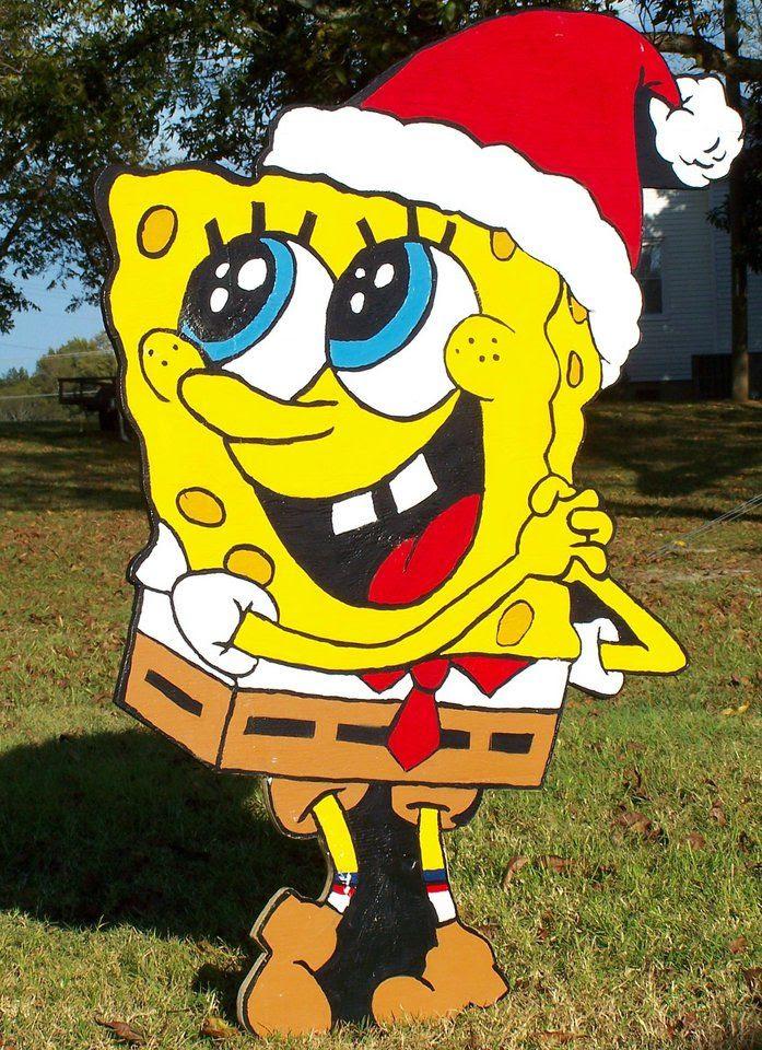 Spongebob Wood Yard Art Decoration Christmas Holiday 4' Christmas yard decorations