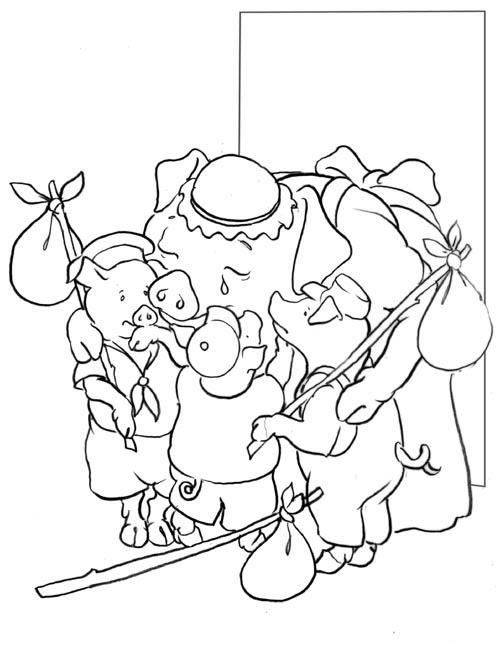 Coloriage A Imprimer Les 3 Petits Cochons