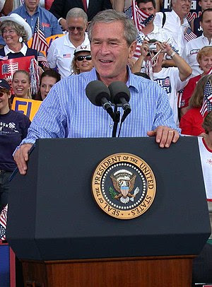 George W. Bush speaks at a campaign rally in 2004.