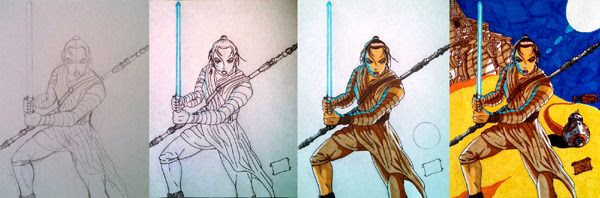 My drawing, plus work-in-progress photos of it, of Rey and BB-8 from STAR WARS: THE FORCE AWAKENS.
