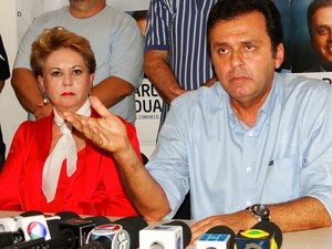 Carlos Eduardo falou da vitória ao lado da ex-governadora Wilma de Faria, sua vice eleita (Foto: Ricardo Araújo/G1)