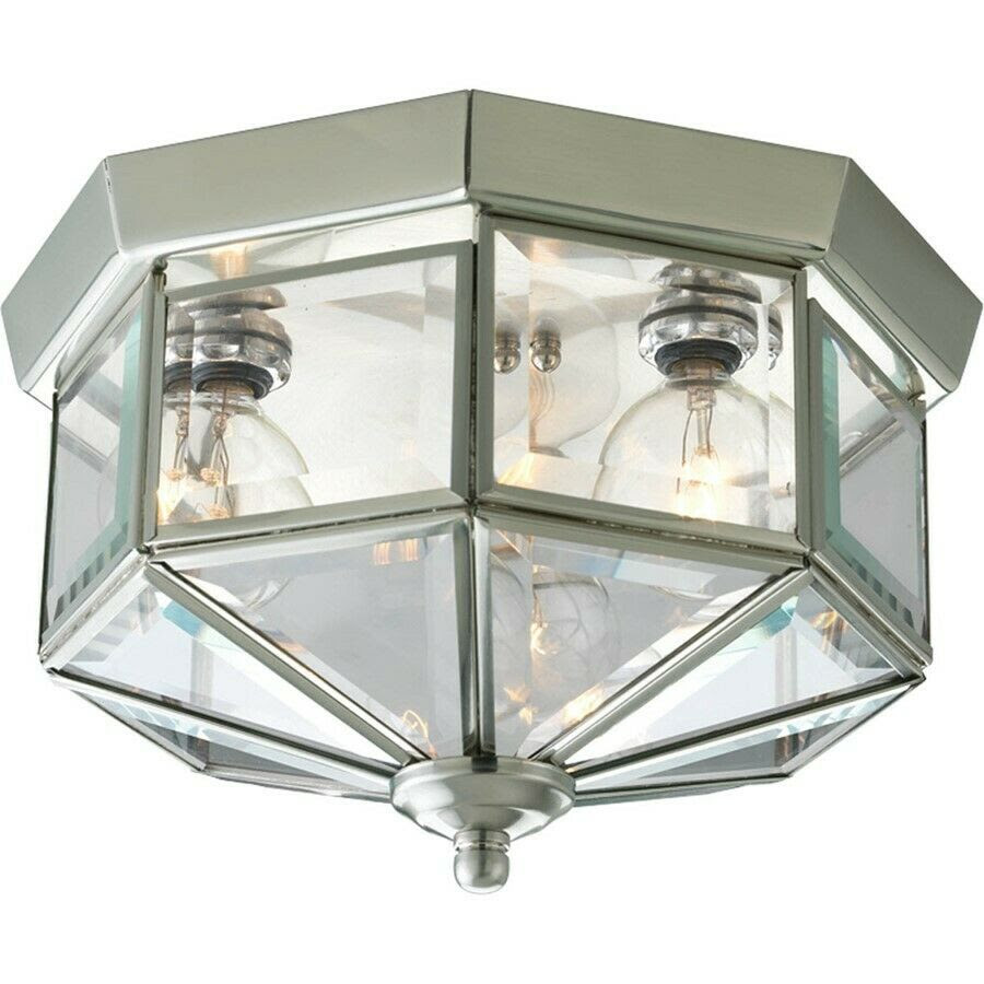 Progress Lighting Beveled Glass Three-Light Flush Mount ...