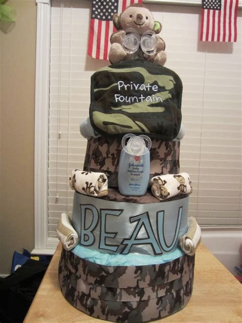 Army / Camo 4 tier diaper cake   Crafts by Me   Pinterest