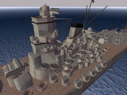 Yamato mit zahllosen Flakgeschützen.