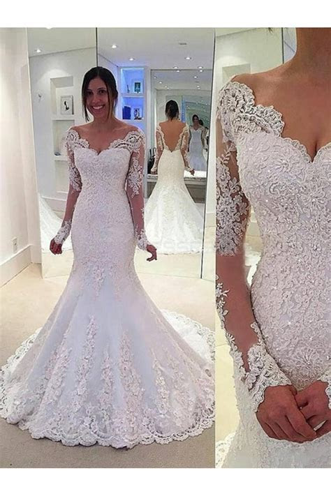 Lace Long Sleeves Mermaid Backless Wedding Dresses Bridal