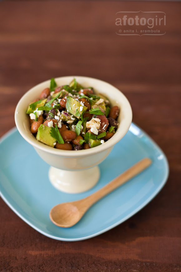Two bean salad with Avocado, Tomato and Feta