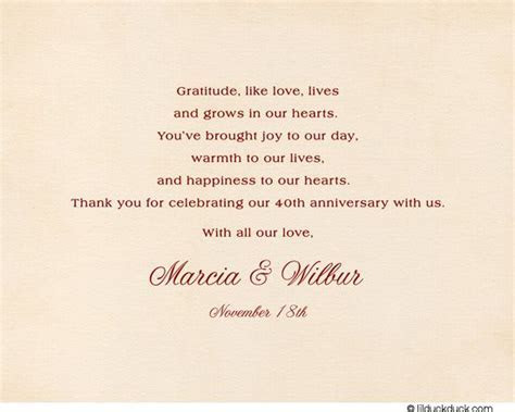 Ruby Chintz Thank You Card   40th wedding anniversary