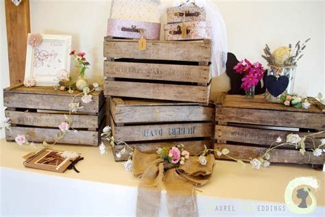gift table decorations   rustic wedding wooden crates
