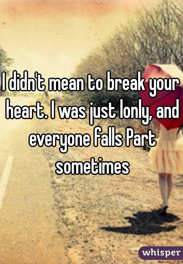 I Didnt Mean To Break Your Heart I Was Just Lonly And Everyone