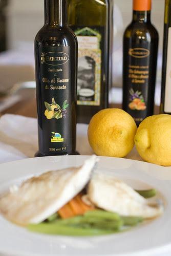 Branzino al vapore condito con olio Gargiulo al limone