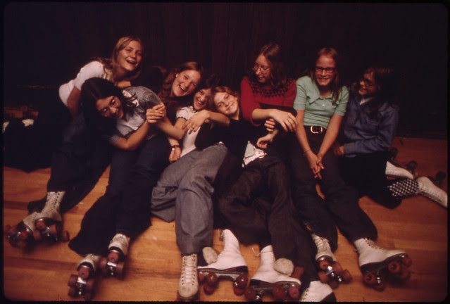 Youngsters Pose at Izzy-Dorry's Roller Rink in New Ulm Minnesota...