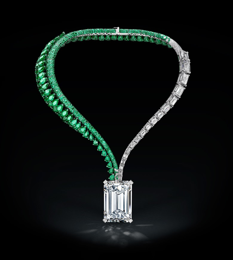 De GRISOGONO's design for the diamond — an asymmetric necklace featuring 18 emerald-cut diamonds, flanking the 163.41-carat centrepiece, which will be offered at Christie's in Geneva on 14 November. This stunning piece will be toured to Hong Kong, London, Dubai and New York before arriving in Geneva for the Magnificent Jewels auction