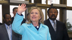 U.S. Secretary of State Hillary Clinton arrives at African Union headquarters in Addis Ababa, Ethiopia, on Monday.