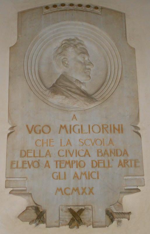 lapide Ugo Migliorini, Virgilio Milani, Conservatorio, palazzo Venezze, Rovigo