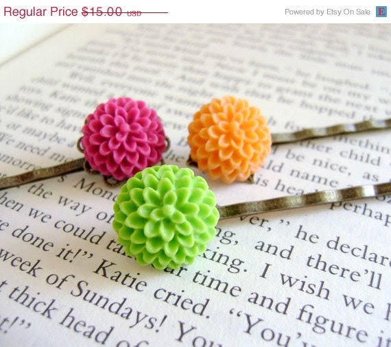 SALE Mum Flower Bobby Pins- Tutti-Frutti Colors