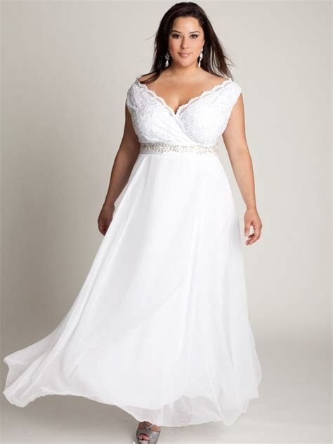 Plus Size Off The Shoulder Ankle Length White Lace and
