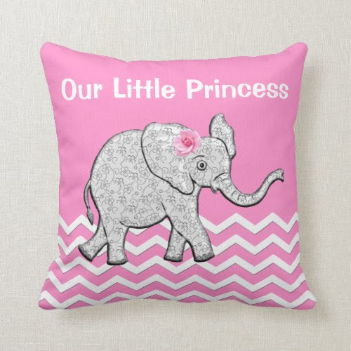 Our Little Princess Pink Baby Elephant Pillows
