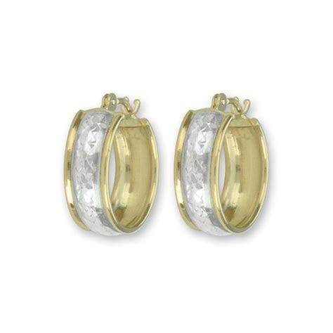 14k Yellow Gold and Rhodium Wedding Band Hoop Earrings
