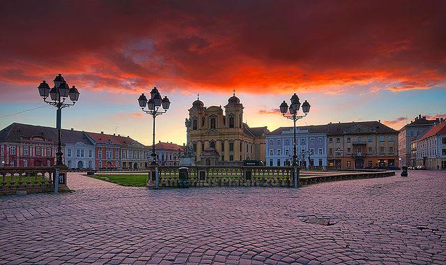 Timisoara - Union Square at sunrise