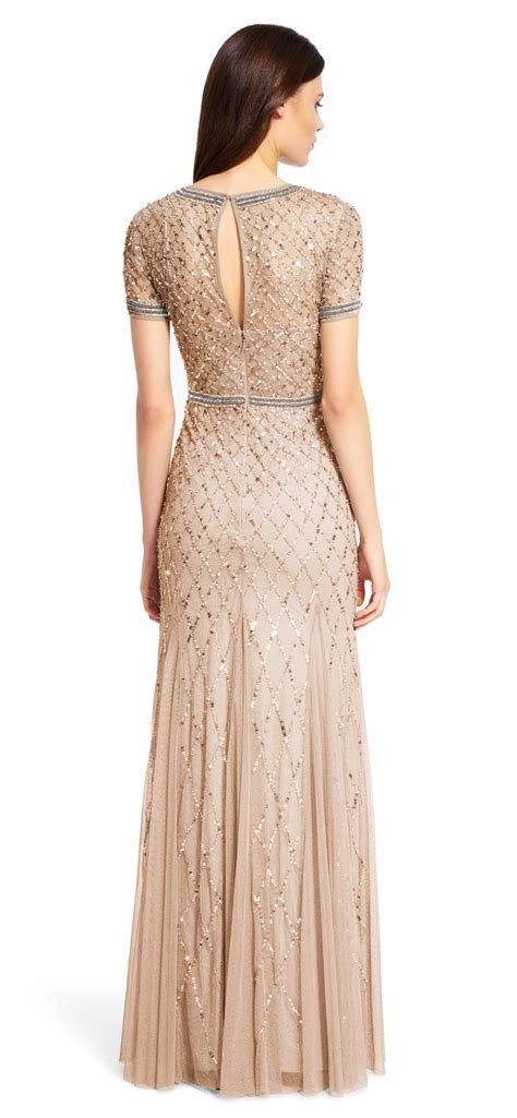 Adrianna Papell Beaded Mesh Gown   Champagne   Adinas Bridal
