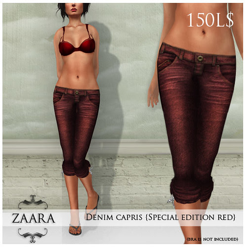 Denim capris in red@Fashion for Life