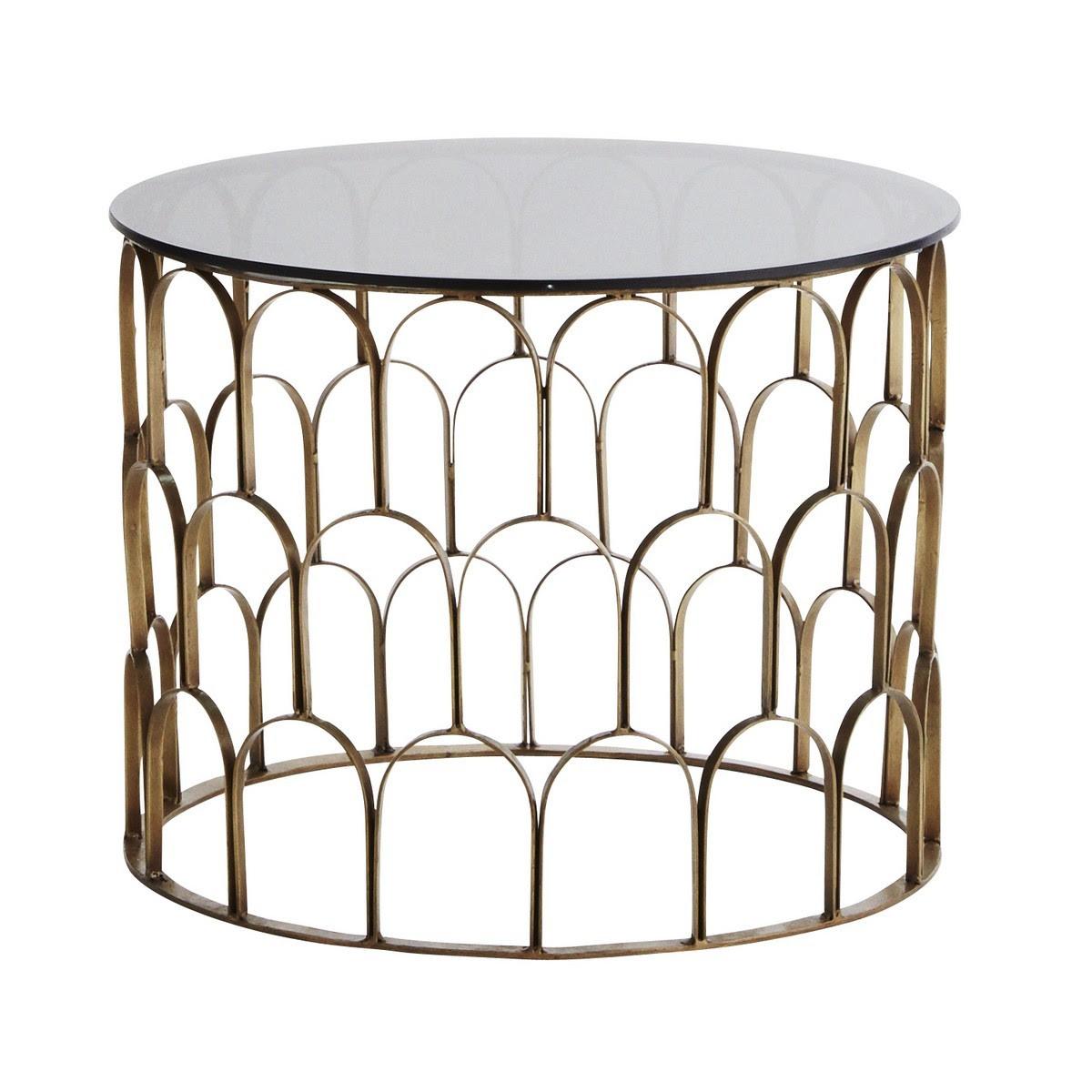 Table Basse Ronde Laiton Antique Art Deco Verre Noir Madam Stoltz