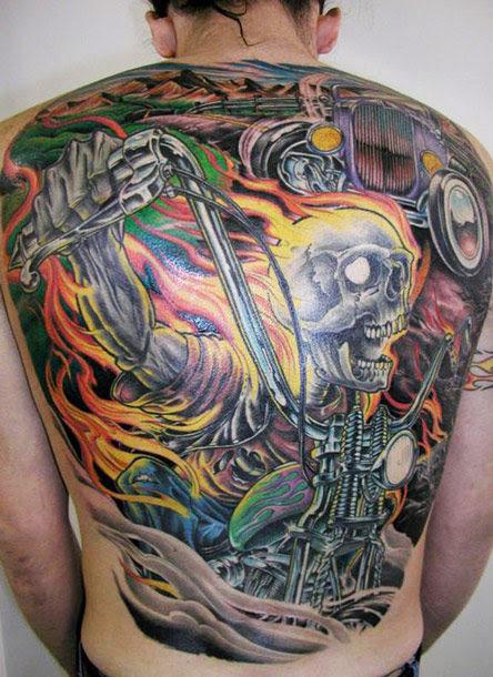 Cool Full Back Skull Tattoo By James Tex Design Of Tattoosdesign