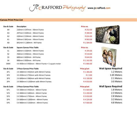 JC Crafford Printing Pricelist 1 ? JC Crafford Photo and Video