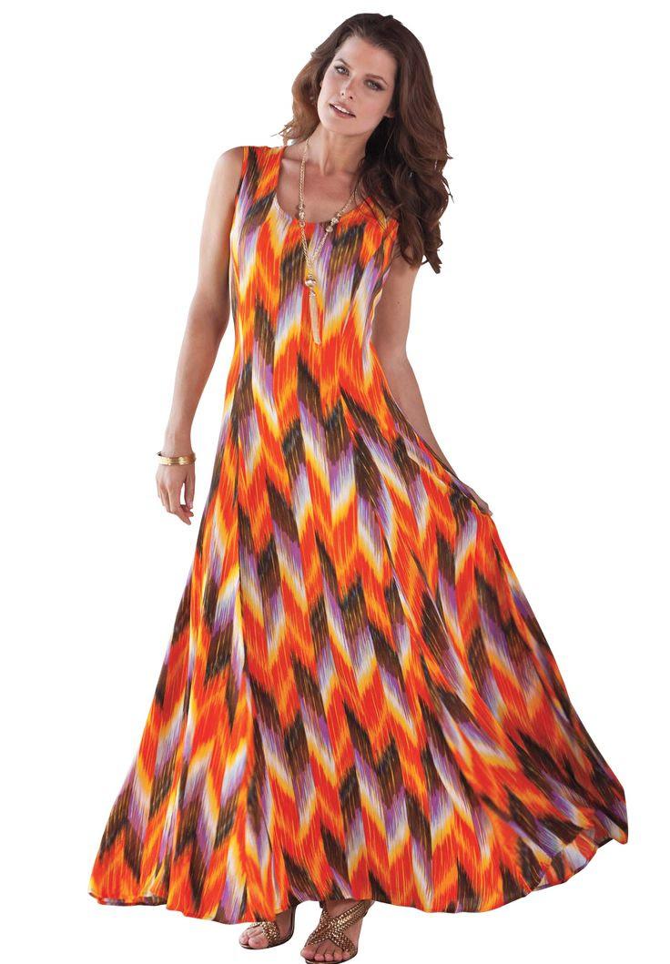 A Line Crinkle Maxi Dress | Plus Size Casual Dresses | Roamans