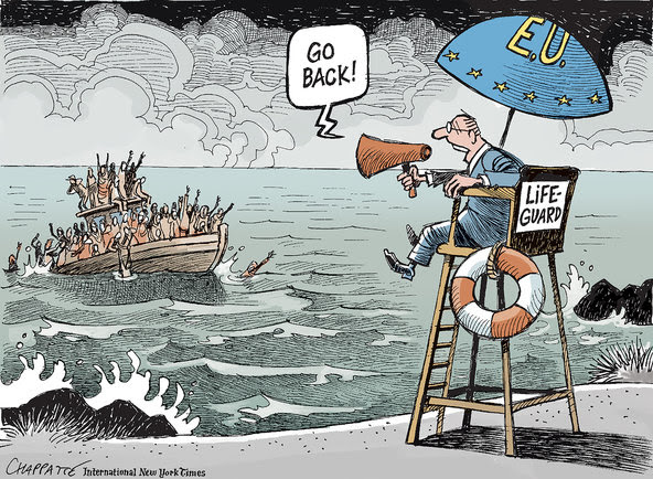 "This cartoon by Patrick Chappatte appeared in the April 25, 2015 International New York Times. He titled the cartoon ""Migrants and the European Union,"" and added the caption, ""Europe looks for an answer to the migrants reaching for its shores."""