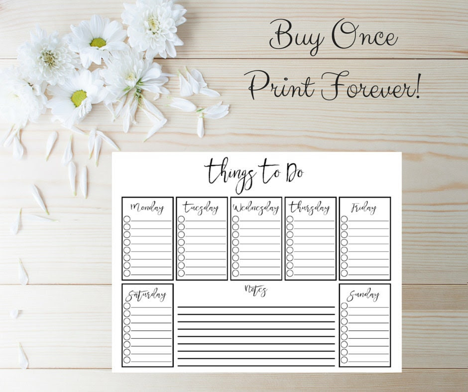 Items similar to Starry Night Printable Set | weekly to do list ...