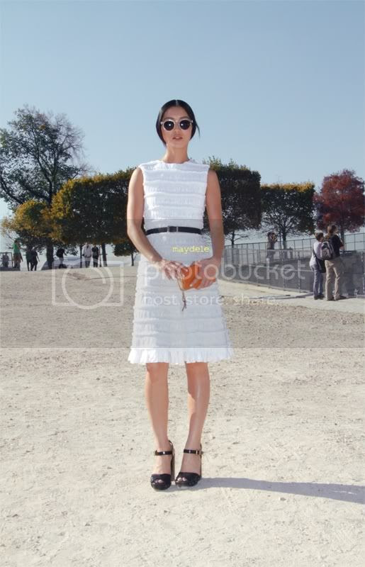 Bonnie Chen guest at Chloé show wearing all Chloé : Chloé dress, Chloé shoes, Chloé Bella clutch from the spring 2012 collection