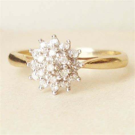 Vintage Engagement Ring, 9k Gold Diamond Flower Cluster