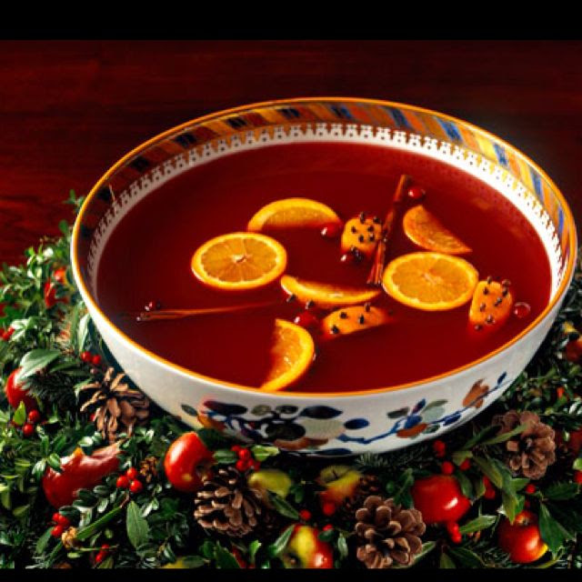 Wassail ! - another christmas must.  Ingredients:  •1 gallon apple cider  •1 large can unsweetened pineapple juice  •3/4 cup tea   Place in a cheesecloth sack:  •1 tablespoon whole cloves  •1 tablespoon whole allspice  •2 sticks cinnamon This is great cooked in a crock pot. Let it simmer very slowly for 4 to 6 hours. You can add water if it evaporates too much. Serves 20. Add orange slices, or quartered with cloves, and some cinnamon sticks.