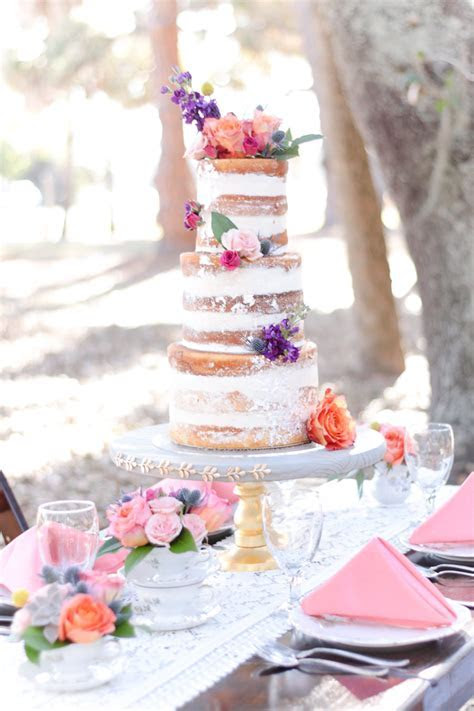 Outdoor Park Wedding Reception with Three Tier Round Naked