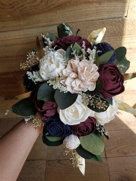 Custom Navy Burgundy Blush Wedding Bouquet Sola Wood
