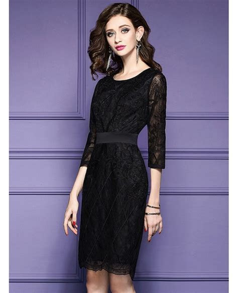 Luxe Black Lace Sleeve Short Wedding Guest Dress Black Tie
