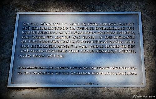 Plaque near the Old North Bridge