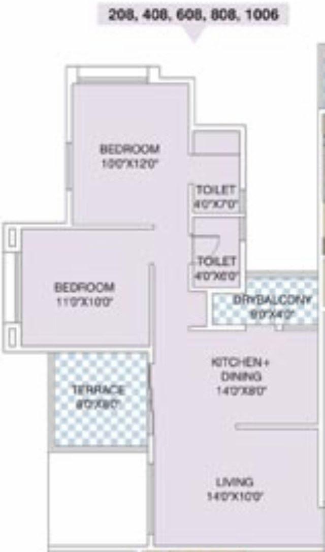 Nirman Viva E 808 2 BHK Flat Back 609 Carpet + Terrace for Rs. 38,62,750 + 5,000 Misc + ST + VAT