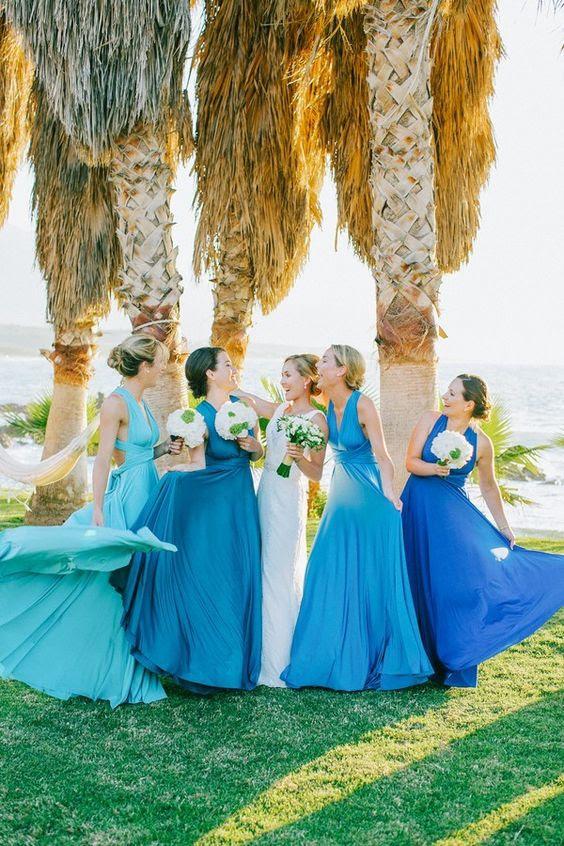 verschiedene Schattierungen von blau für jedes Mädchen, aber das gleiche design zu vereinen-Sie alle