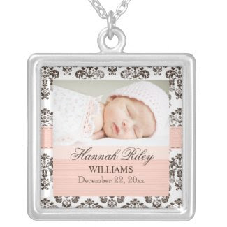 Pink and Brown Damask Baby Photo Necklace zazzle_necklace