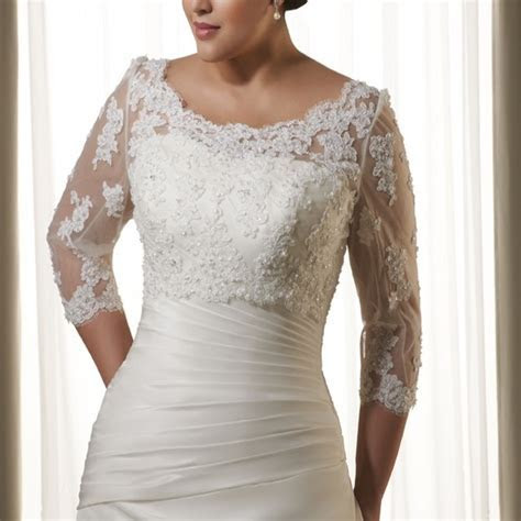 3/4 Sleeves Alencon Lace Jacket Vest Applique Beading