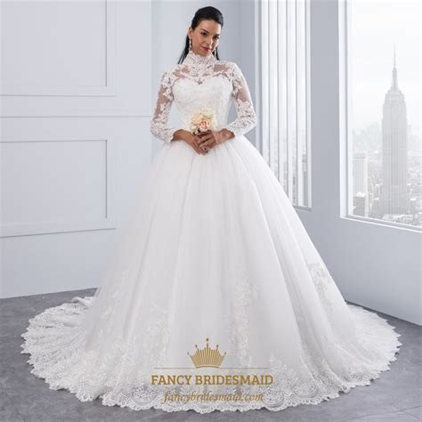 High Neck Long Sleeve Lace Embellished A Line Ball Gown