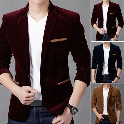Men' One Button Velvet Blazer Suit Jacket Formal Wedding