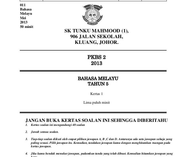 Contoh Muka Depan Soalan Bm Pt3 H Soalan