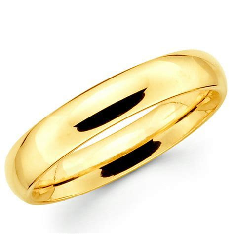 14K Solid Yellow Gold 4mm Comfort Fit Men's and Women's