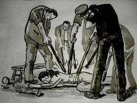 中共酷刑示意图:电棍电击
