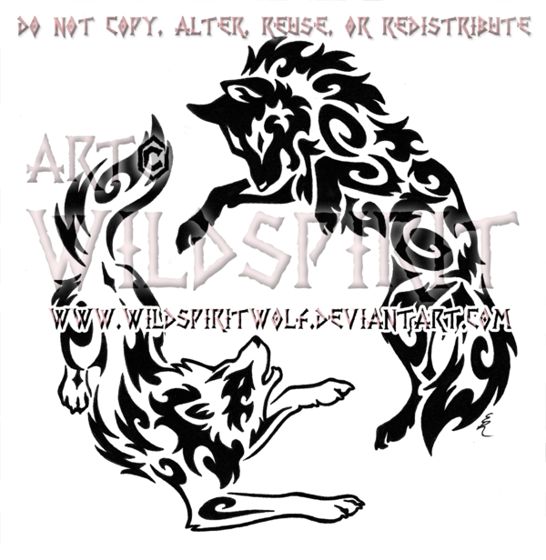 Tribal Wolves Yin Yang Tattoo Design